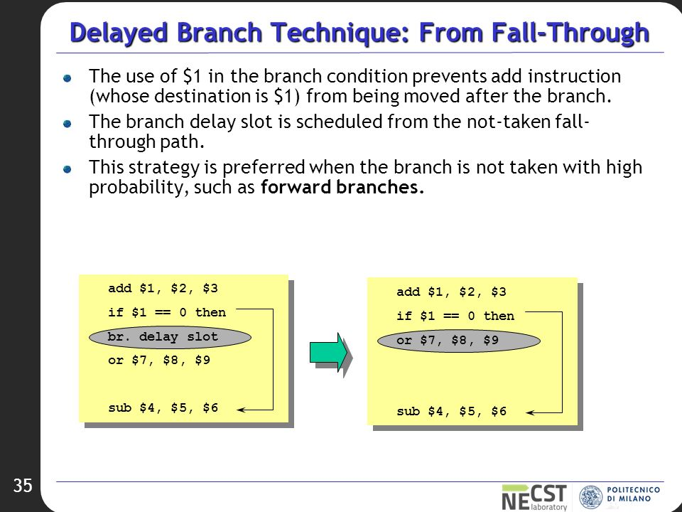 branch delay Would removing the branch delay slots change the instructions set architecture but because it changes the meaning of the branch instruction from executing the next instruction.