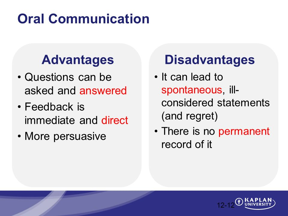disadvantages of oral communocation No record: in oral communication, messages are difficult to record so it is impossible to preserve the message for future expensive: it is also expensive media of communication.