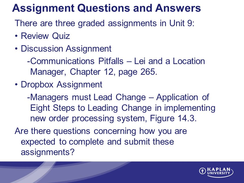 Assignment: Question in Mgt417 Slide Chapter 6