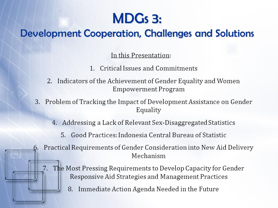MDGs 3: Development Cooperation, Challenges and Solutions