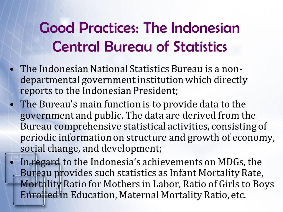 Good Practices: The Indonesian Central Bureau of Statistics