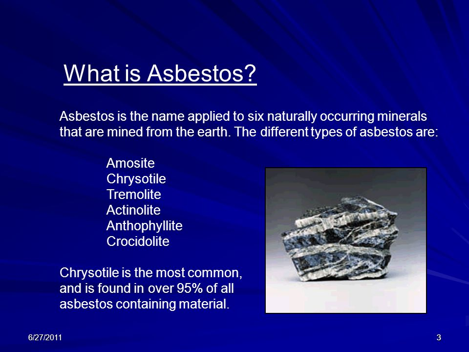 Types Of Asbestos : New york medical college environmental health and safety