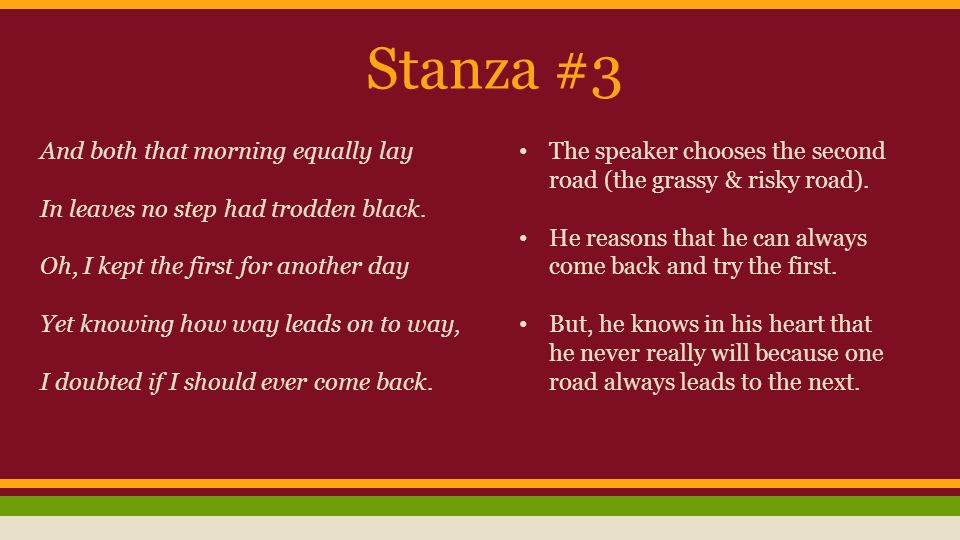 the road not taken robert frost ppt  4 stanza