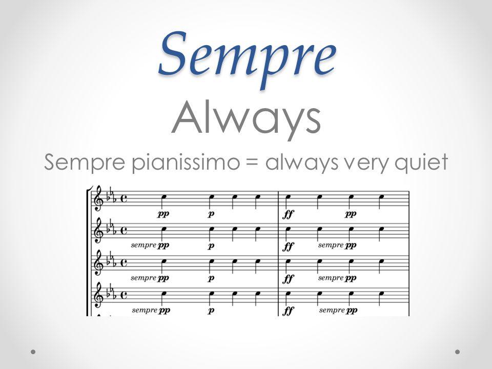 Sempre pianissimo = always very quiet