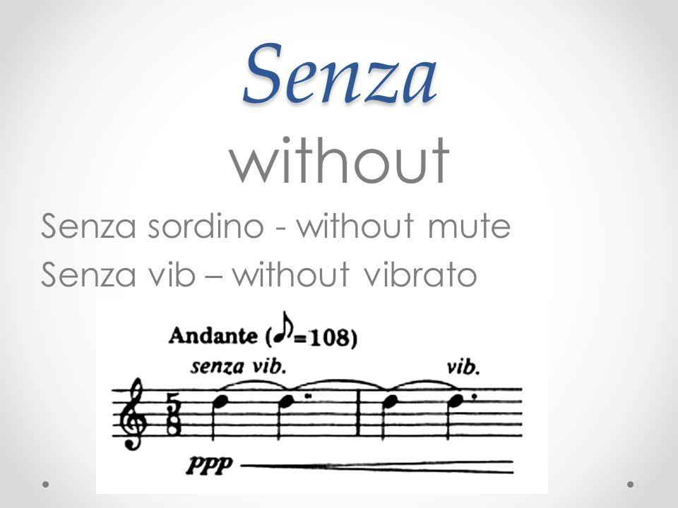 Senza without Senza sordino - without mute Senza vib – without vibrato