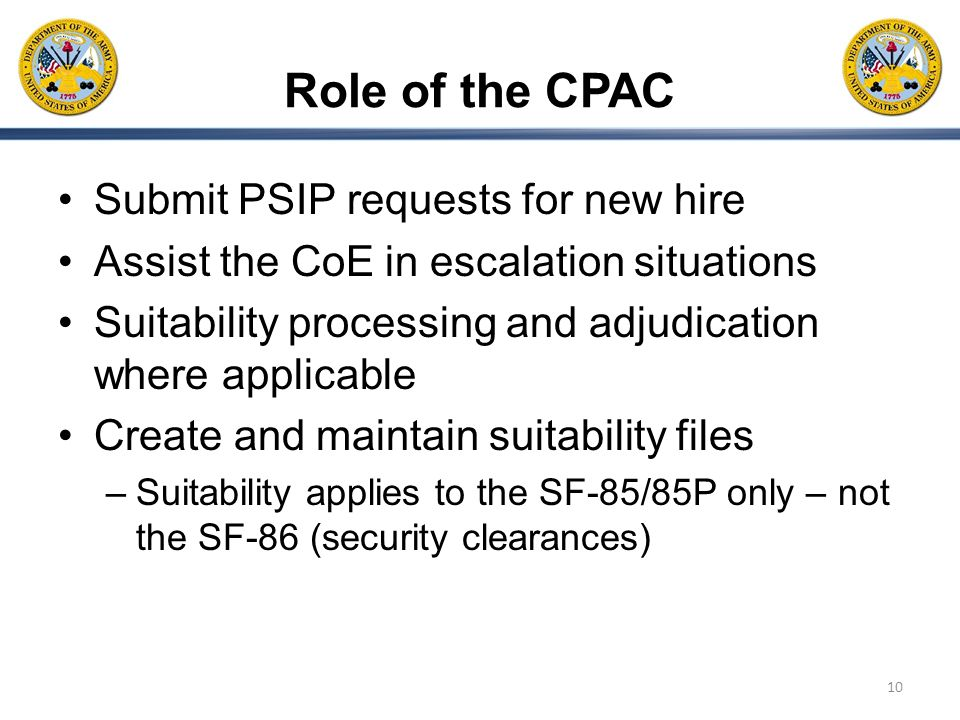 Role of the CPAC Submit PSIP requests for new hire