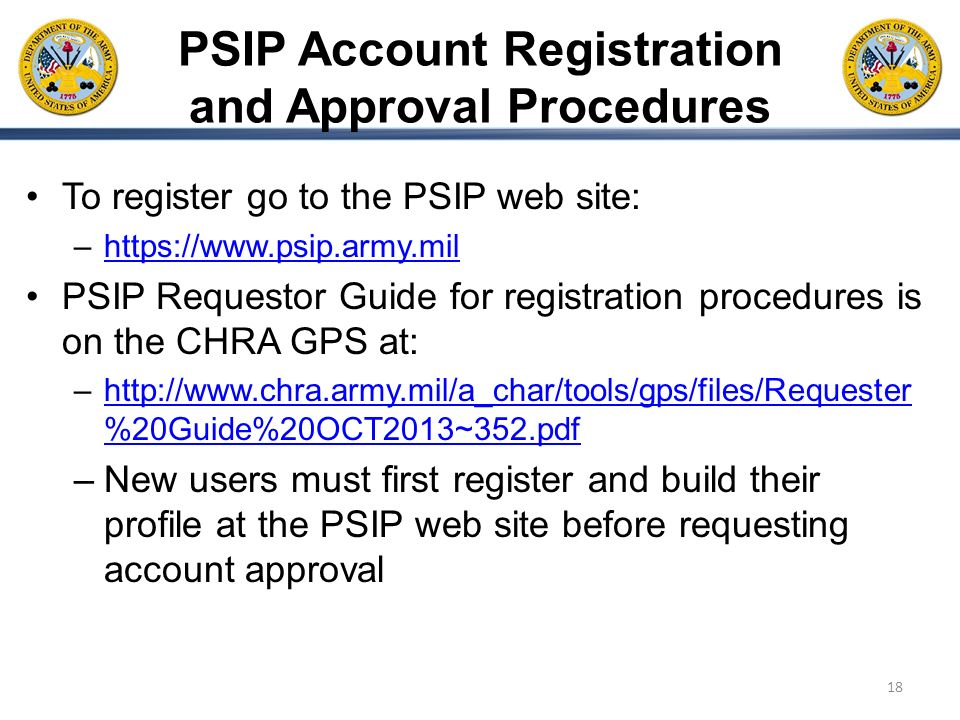 PSIP Account Registration and Approval Procedures
