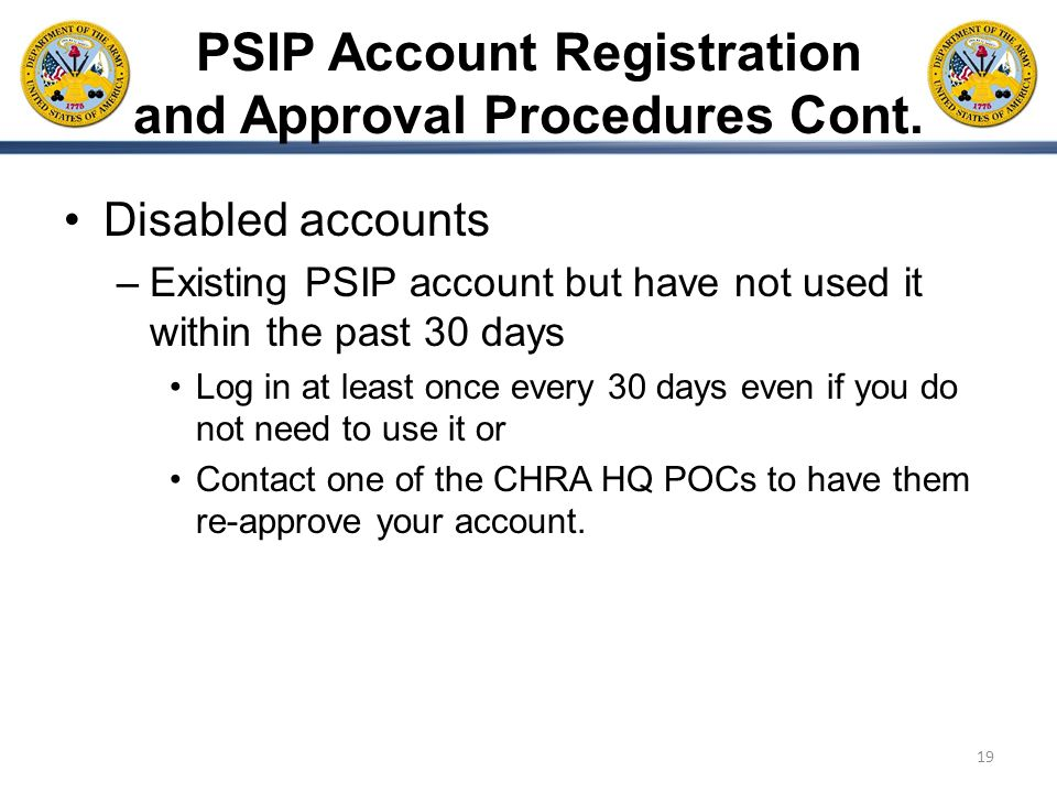 PSIP Account Registration and Approval Procedures Cont.