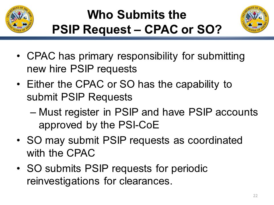 Who Submits the PSIP Request – CPAC or SO