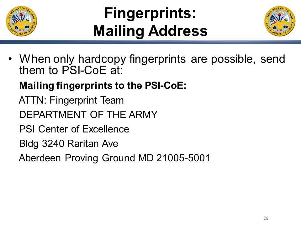 Fingerprints: Mailing Address