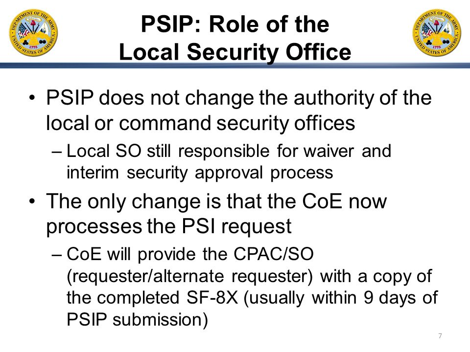 PSIP: Role of the Local Security Office