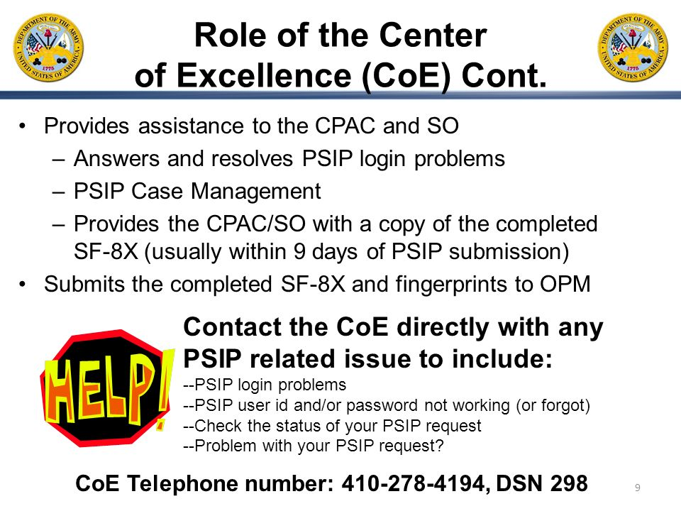 Role of the Center of Excellence (CoE) Cont.
