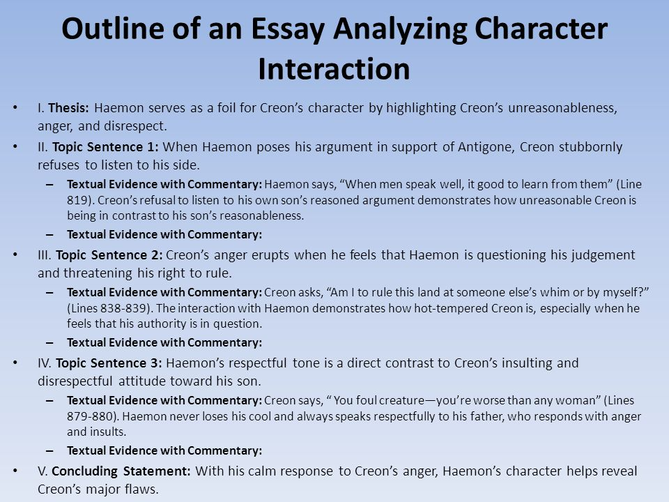Character Analysis Essay Creon Antigone Camera Lucida  Thesis Statement For Process Essay also Fifth Business Essays  Example Of Thesis Statement In An Essay