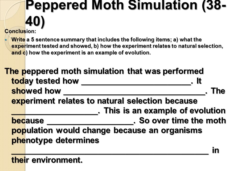 Week 5 Journal Questions pg 36 ppt download – Peppered Moth Simulation Worksheet