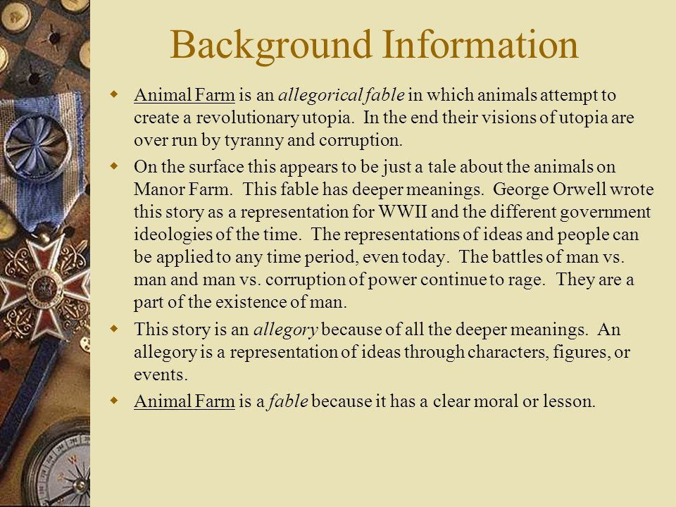 a story of courage and corrupt government in animal farm by george orwell Animal farm by george orwell, theme about corruption i need a generalization about corruption and animal farm: i have the pigs ridding of voting rights for other animals and having total control for it but it sounds dumb and i dont like it so do you have any ideas.