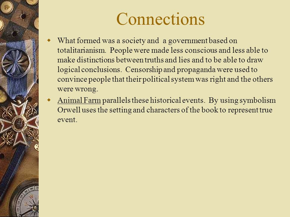 Parallels between animal farm and actual historical events