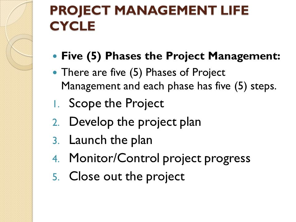 project management strategy five project phases Five project stages organisations that manage projects on a regular basis develop their own internal framework of project stages, based on the project life cycle but translated to suit their own projects and business.