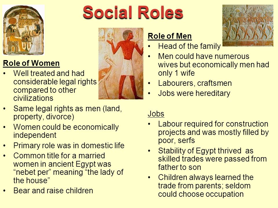 role of women in ancient egypt Women in ancient egypt had some special rights other women did not had in other comparable societies they could own property and were legally at court, equal to men however, ancient egypt was a society dominated by men women could not have important positions in administration and were also excluded from ruling the country.