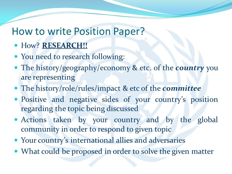 how to write a position paper for model un