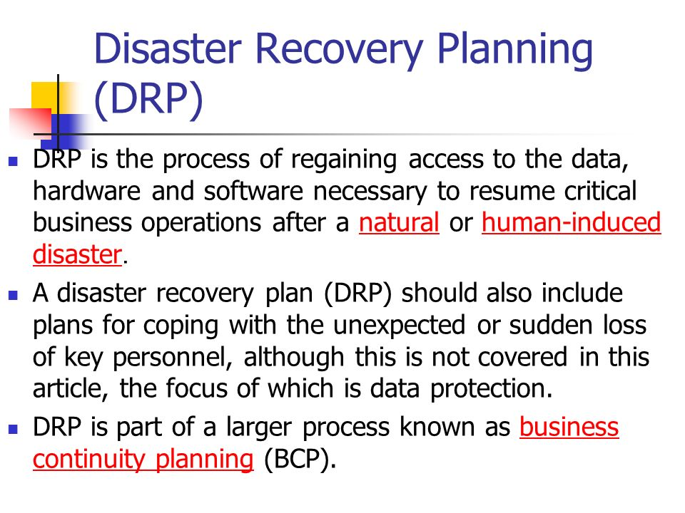 Disaster Recovery Planning Drp  Ppt Download