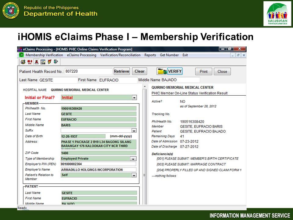 iHOMIS eClaims Phase I – Membership Verification