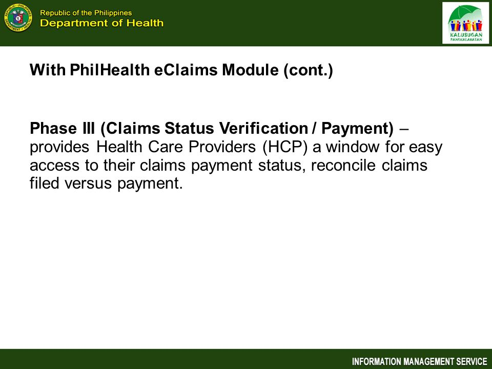 With PhilHealth eClaims Module (cont.)