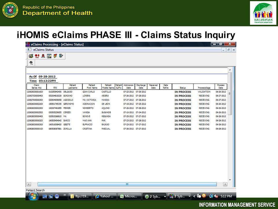 iHOMIS eClaims PHASE III - Claims Status Inquiry
