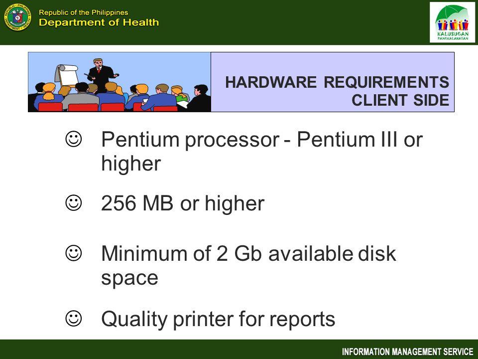 Pentium processor - Pentium III or higher
