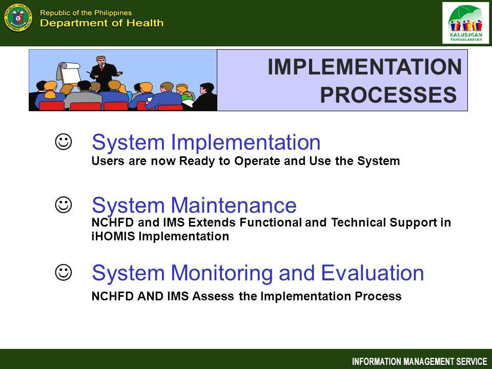 IMPLEMENTATION PROCESSES System Implementation System Maintenance