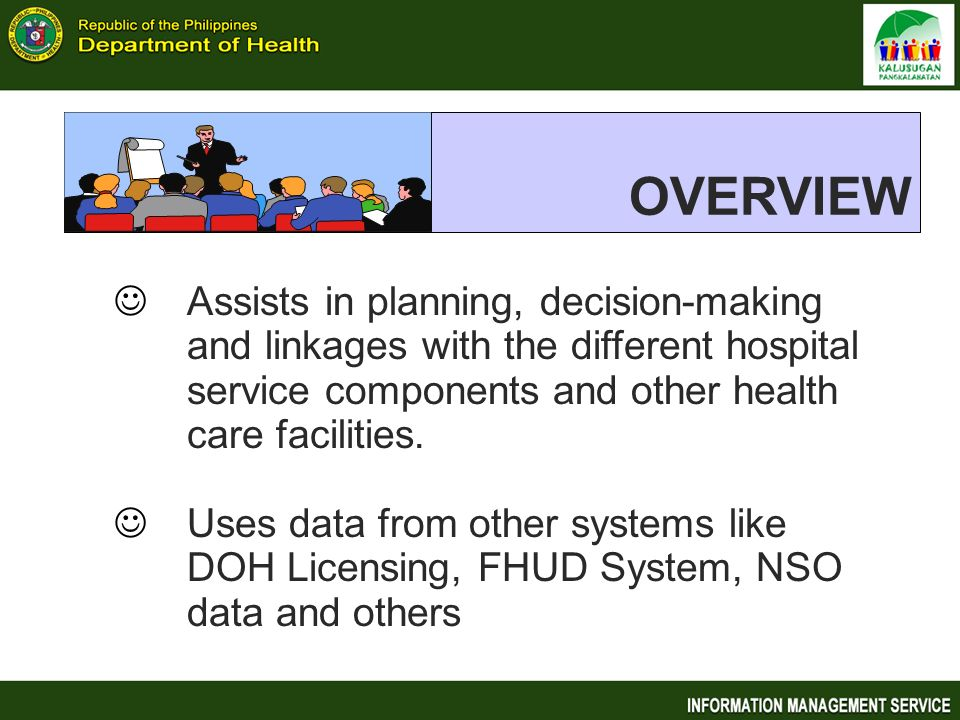 OVERVIEW Assists in planning, decision-making and linkages with the different hospital service components and other health care facilities.