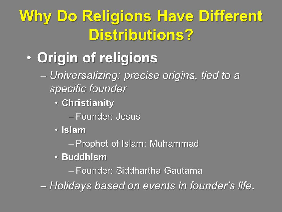 Why Do Religions Have Different Distributions