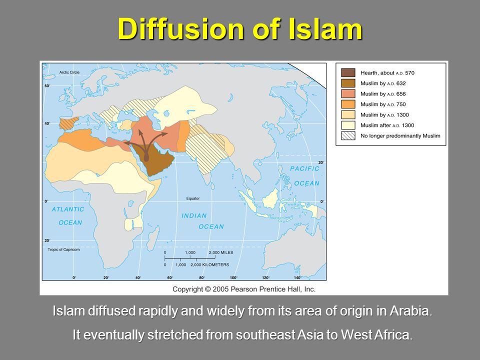 Diffusion of Islam Islam diffused rapidly and widely from its area of origin in Arabia.
