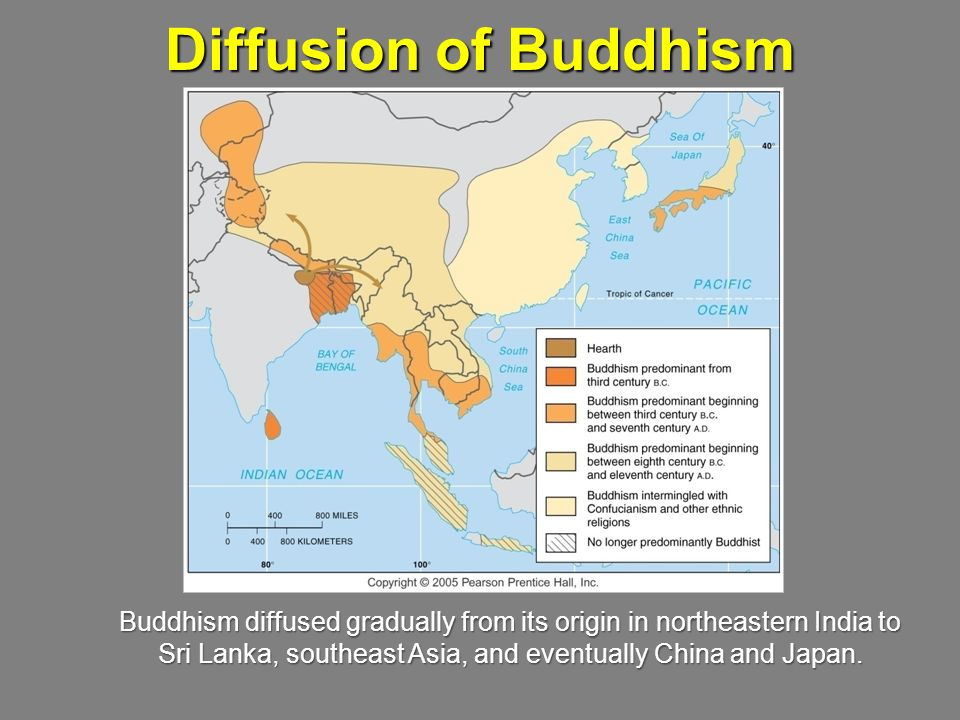 Diffusion of Buddhism Buddhism diffused gradually from its origin in northeastern India to.