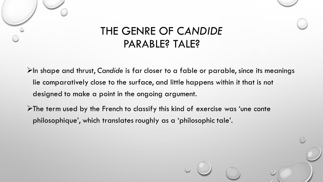 the use of literary writing tools in the novel candide by voltaire Voltaire's writing techniques in candide in candide, voltaire uses many writing techniques one common literary technique is the author's use of one or more.