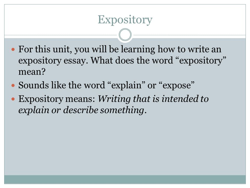expository essay what does it mean What is the meaning of expository essay - put out a little time and money to receive the essay you could not even imagine proposals, essays and academic papers of top.