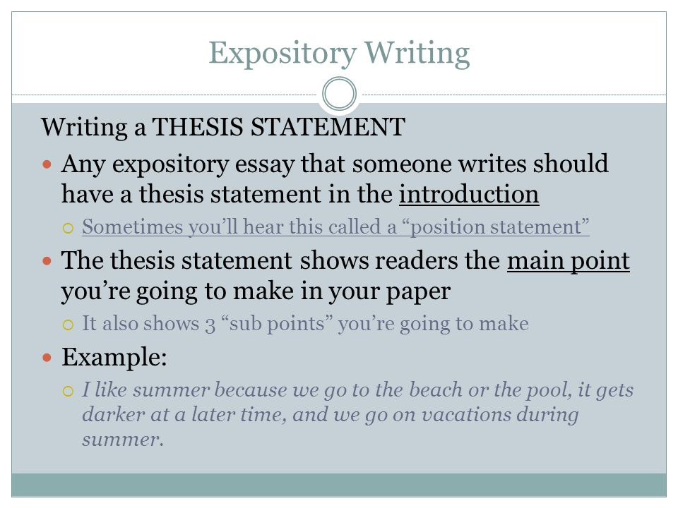 the thesis statement for an expository essay must be Welcome to the purdue owl purdue owl when printing this page, you must include the entire legal example of an expository (explanatory) thesis statement.