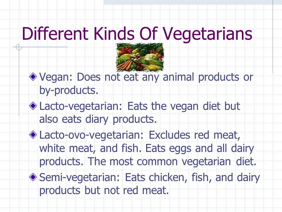 the different kinds of vegetarian There are four types of vegetarians, the lacto-ovo vegetarian, the lacto vegetarian , the ovo vegetarian and the vegan learn more about the different types o.