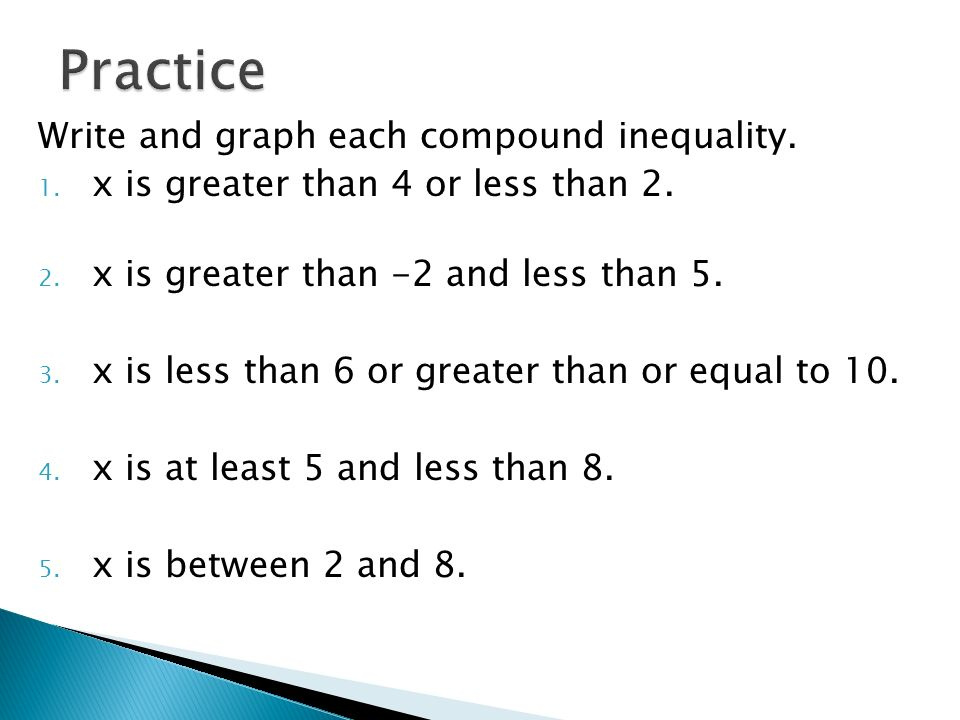 54 Compound Inequalities Again ppt download – Compound Inequalities Worksheet with Answers