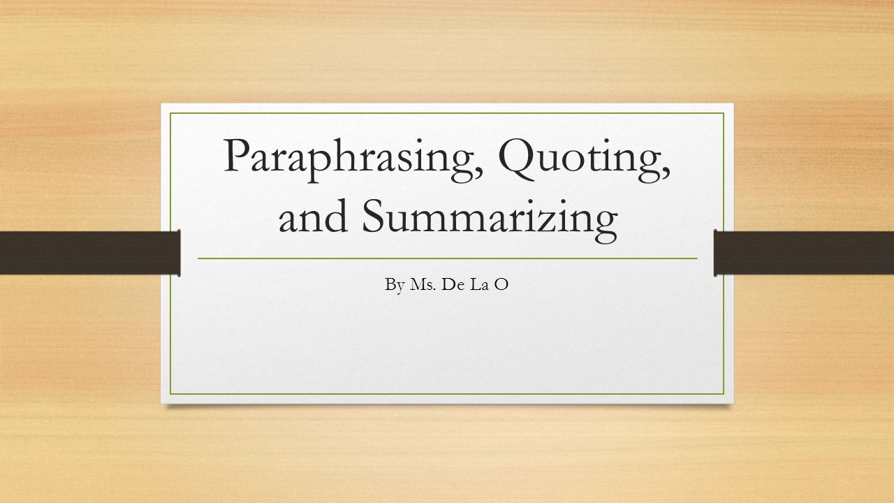 summary and paraphrase A paraphrase can also be thought of as a clarification of a translation of a  a  summary is in your own words, but some key words may not be able to be.