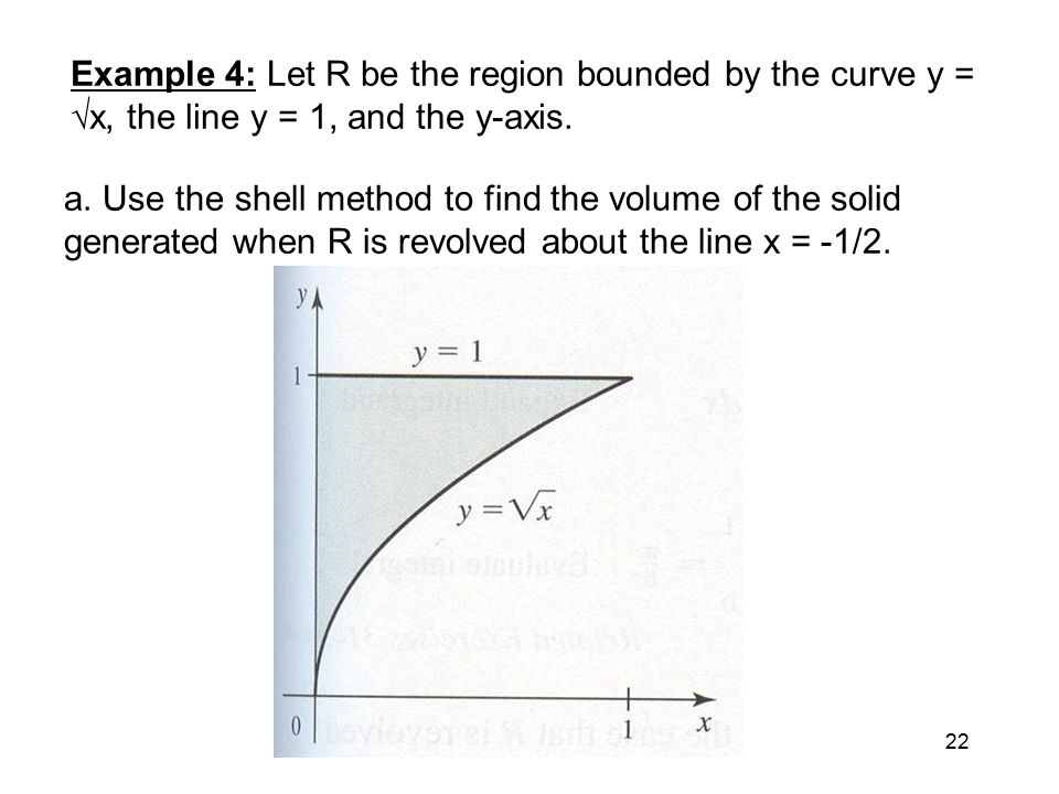 Volume the shell method ppt video online download example 4 let r be the region bounded by the curve y x ccuart Image collections