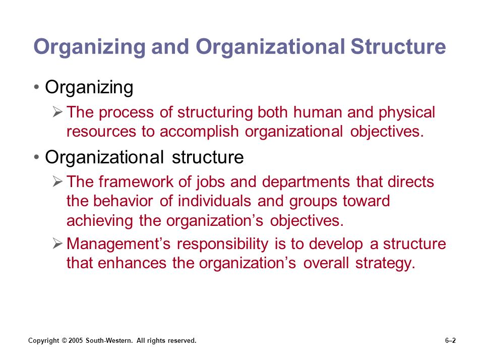 Organizing and Organizational Structure