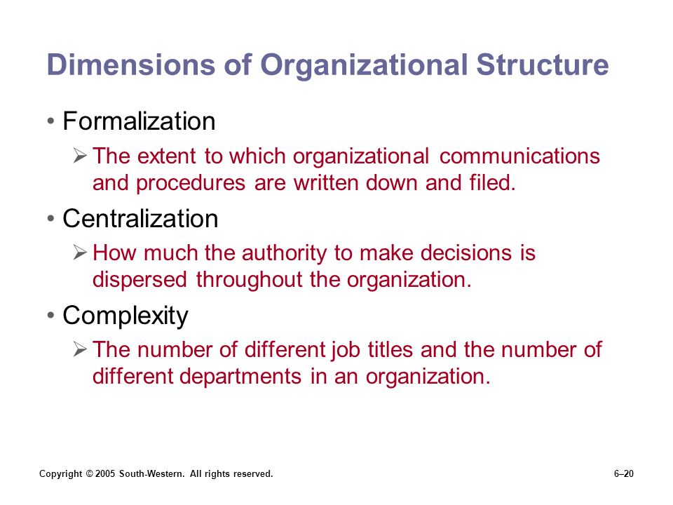 Dimensions of Organizational Structure