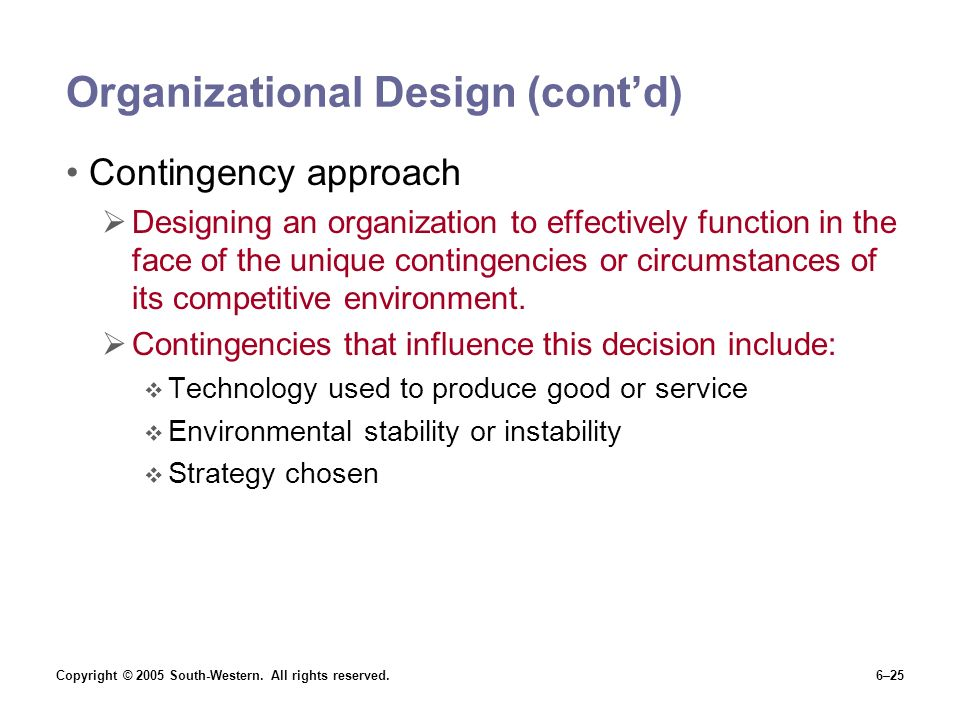 Organizational Design (cont'd)