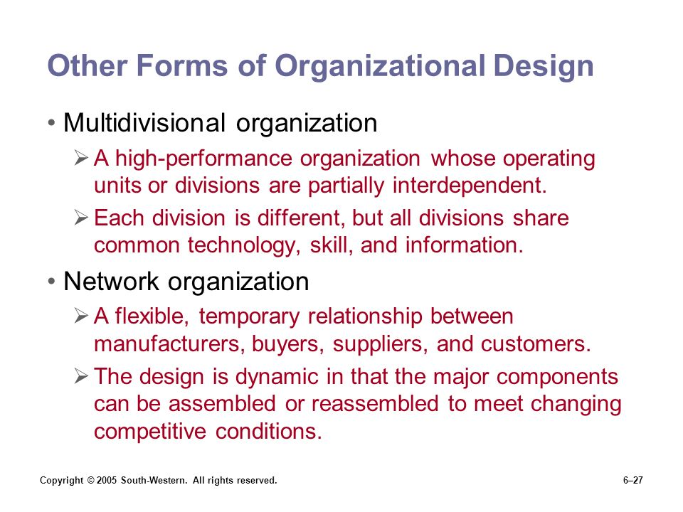 Other Forms of Organizational Design