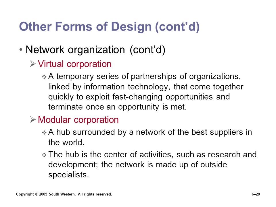 Other Forms of Design (cont'd)