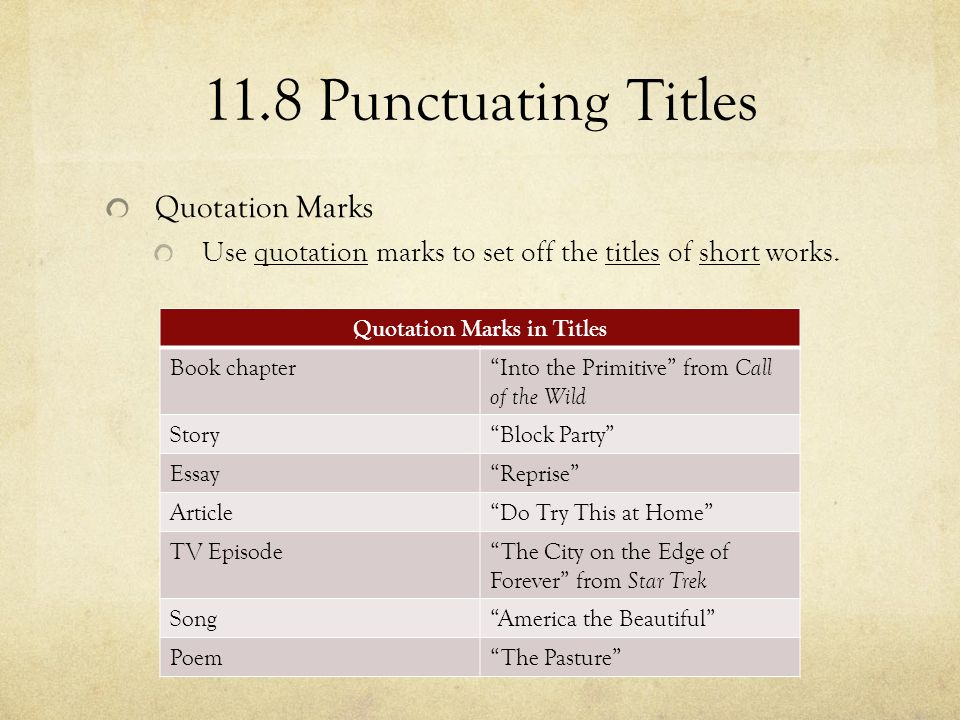 how to punctuate tv shows
