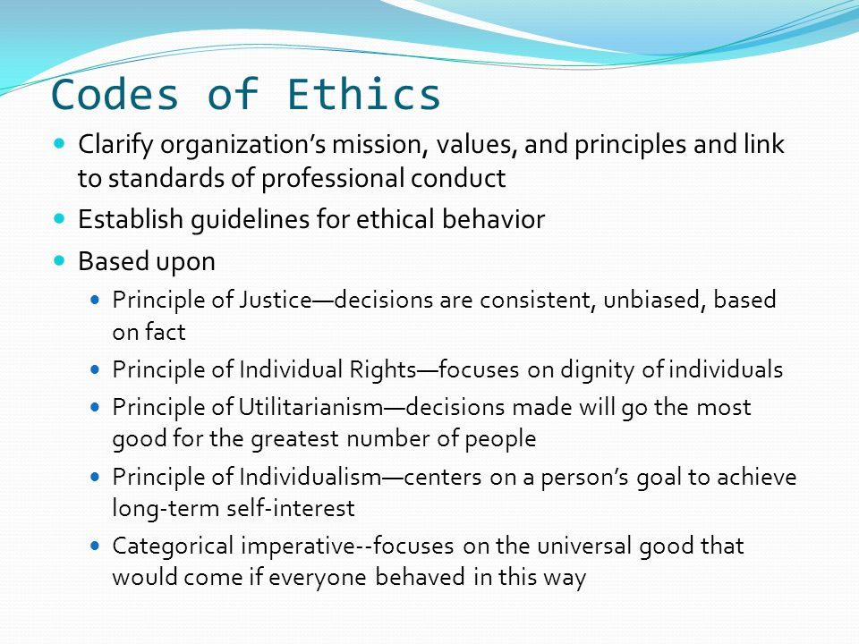 the six ethical principles of a professional organization A professional association's code of ethics sets out the ethical principles  governing the conduct of that association's members the code must reflect  societal.