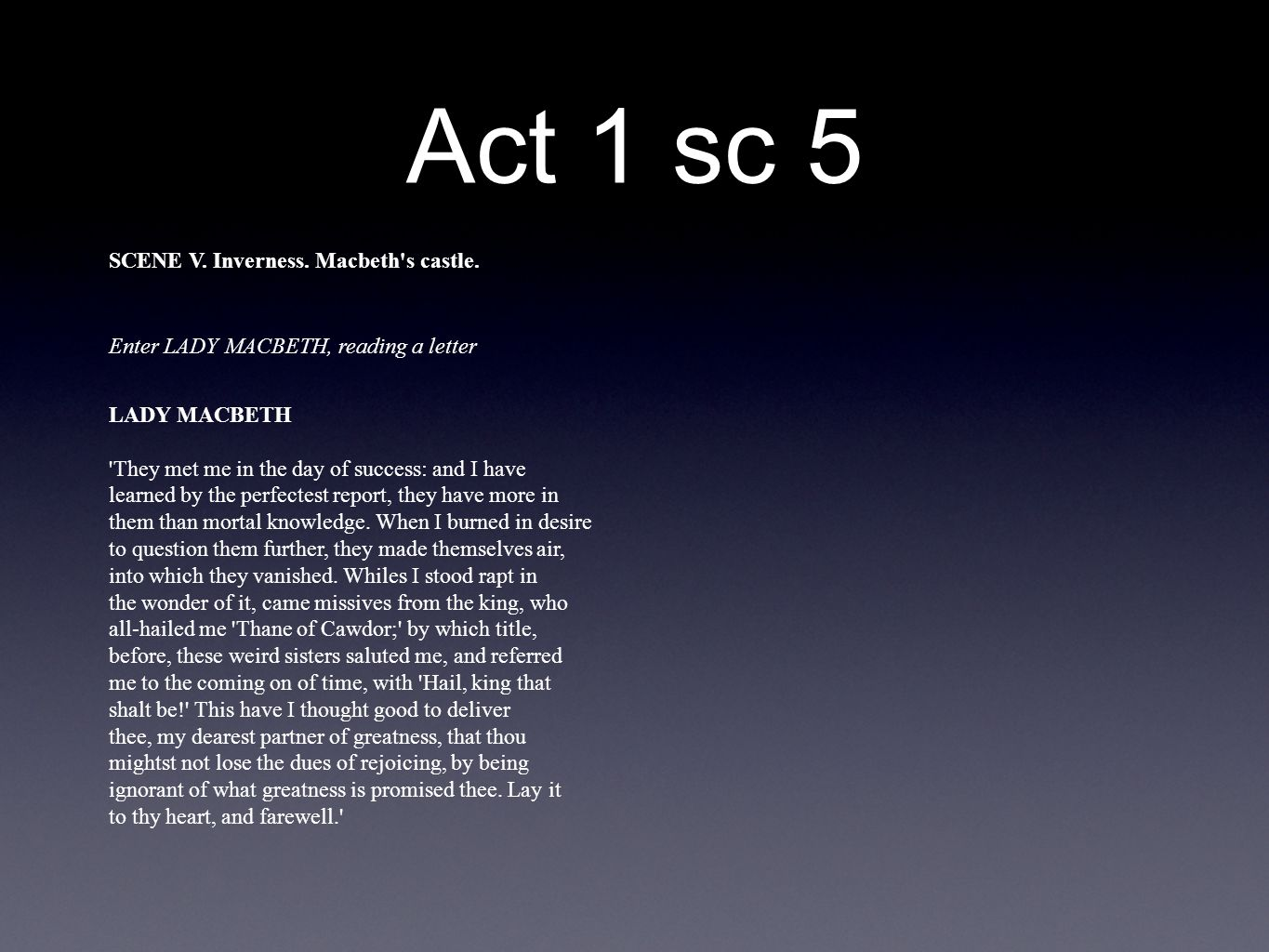 an analysis of act v of the play macbeth As the play nears its bloody conclusion, macbeth's tragic flaw comes to the kuriyama, taro ed macbeth act 5 summary and analysis gradesaver, 23 june 2008.