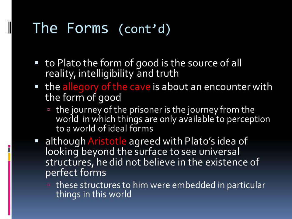 the idea of absolute truth by plato Any ideas show more what are we referring to when we say that socrates believed in absolute truths and then plato came up with idealistic absolutes, which, means what.