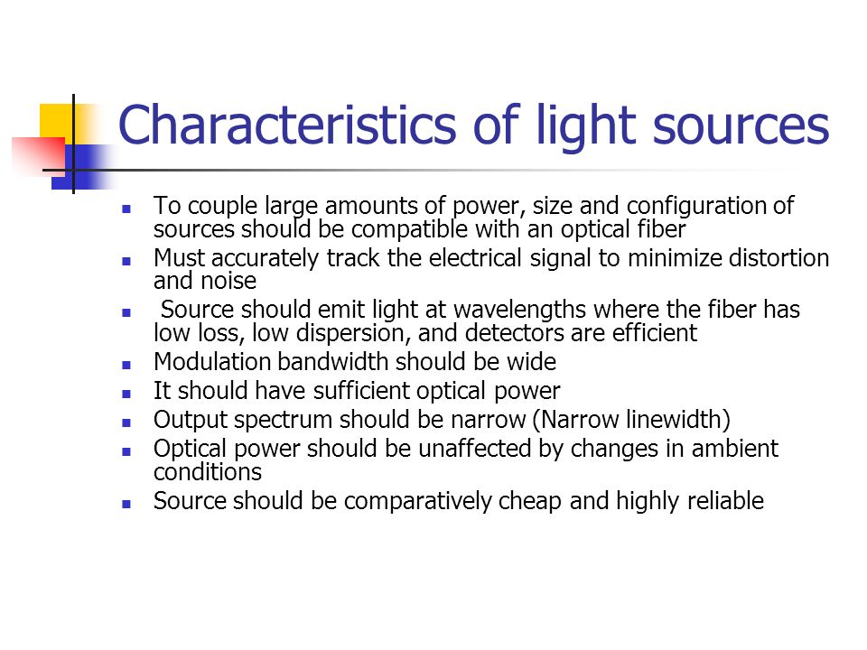 optical sources types of optical sources